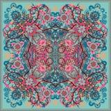 Autentyczny jedwabniczy szyi chustki lub szalika kwadrata wzoru projekt w wschodnim stylu dla druku na tkaninie, wektorowa ilustr royalty ilustracja