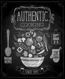 Autentyczny kulinarny plakat - chalkboard styl royalty ilustracja
