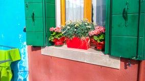 Autentyczny okno z zieleni? zamyka w ?r?dziemnomorskim stylowym starym okno przeciw kamiennej ?cianie obrazy royalty free