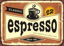 Autentyczny Włoski kawa espresso rocznika cyny znak ilustracja wektor