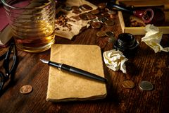 Auteur Whisky de bureau image stock