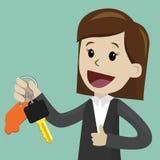 auteursillustratie in vector De onderneemster of de manager houden een sleutel van een nieuwe auto Gelukkig, glimlach De illustra Royalty-vrije Stock Fotografie