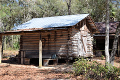 Pioneer Log Cabin. On display  at the Knap In Prehistoric Arts Festival in Ocala, Florida on Feb. 20, 2016 Royalty Free Stock Image