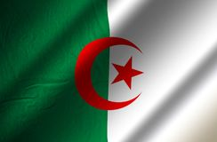 Authentic Algeria flag. Green and white authentic Algeria flag Stock Photos