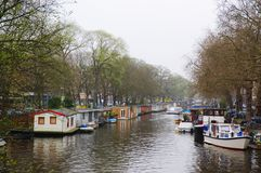 Authentic Amsterdam channel city view Stock Photos