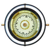 Authentic ancient ship compass isolated on white Royalty Free Stock Image