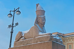 Egyptian sphynx on quay of the Neva river in Saint Petersburg, Royalty Free Stock Photography