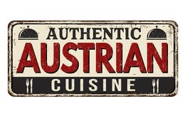 Authentic austrian cuisine vintage rusty metal sign Royalty Free Stock Image