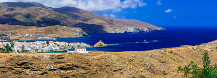 Authentic beautiful Greece - Andros island,  Cyclades. Panoramic view of Andros island,Cyclades,Greece,sea and mountains Stock Images