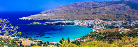 Authentic beautiful greek islands - Andros in Cyclades. Beautiful Andros island,Cyclades,panoramic view,Greece Stock Images
