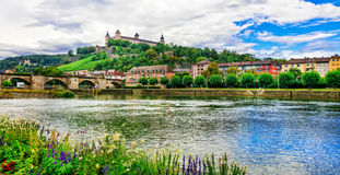 Authentic beautiful towns of Germany - Wurzburg, view with bridg Stock Image