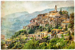 Authentic beautiful village Apricale, Liguria, Italy Stock Images