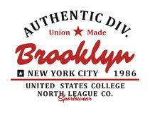 Authentic Brooklyn Typography design, Vector Image Royalty Free Stock Photo