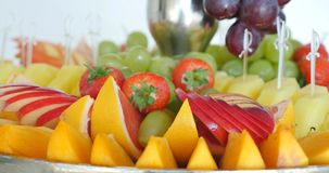 Authentic buffet, assorted fresh fruits, berries and citrus fruits. stock video footage