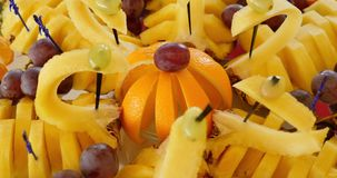 Authentic buffet, assorted fresh fruits, berries and citrus fruits. stock video