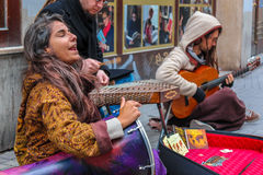 Authentic busker group Royalty Free Stock Photography