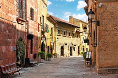 Authentic Catalan cozy streets in cities of  Spain. Stock Image
