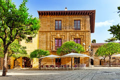 Authentic Catalan cozy streets in cities of  Spain. Stock Photography