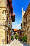 Authentic Catalan cozy streets in cities of  Spain. Royalty Free Stock Photos