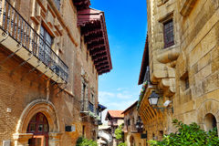 Authentic Catalan cozy streets in cities of  Spain. Royalty Free Stock Images