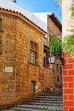 Authentic Catalan cozy streets in cities of  Spain. Royalty Free Stock Image