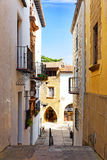 Authentic Catalan cozy streets in cities of  Spain. Royalty Free Stock Photography