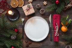 Authentic Christmas Table Setting, Top View stock photo