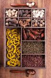 Authentic collection Chinese spices Stock Photos