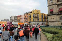 Historical center of Mexico city. Authentic colonial architecture in the historical center of Mexico city Stock Photography