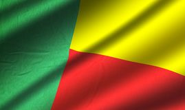 Authentic colorful Benin flag. Authentic colorful textile Benin flag Royalty Free Stock Photos