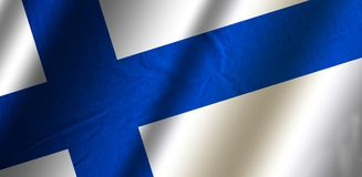 Authentic colorful flag of Finland. Authentic colorful textile flag of Finland Stock Image