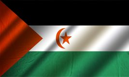 Authentic colorful flag of Saharan Arab Democratic Republic. Authentic colorful textile flag of Saharan Arab Democratic Republic - Western Sahara Royalty Free Stock Photo