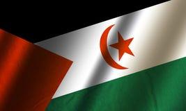 Authentic colorful flag of Saharan Arab Democratic Republic. Authentic colorful textile flag of Saharan Arab Democratic Republic - Western Sahara Stock Photo