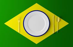 Authentic Cuisine of Brazil. Plate with brazilian Flag and Cutlery. 3d illustration. Authentic Cuisine of Brazil. Plate with brazilian Flag and Cutlery Stock Image