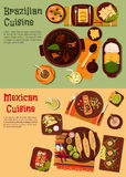 Authentic cuisine of Mexico and Brazil symbol. Delicious and rich of flavors cuisine of Mexico and Brazil flat icons with grilled beef and corn, black bean and Stock Images