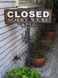 Authentic and cute ole Sorry We're Closed sign. With a genuine old school homely feel, this Sorry We're Closed sign is great for many situations and much Stock Photography