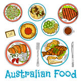 Authentic dishes of australian cuisine sketch vector illustration