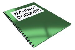 AUTHENTIC DOCUMENT concept. 3D illustration of AUTHENTIC DOCUMENT script on a booklet, isolated on white Stock Image
