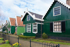 Authentic dutch houses. Authentic dutch wooden houses in the famous open-air museum Zaanse Schans in the netherlands Royalty Free Stock Photos