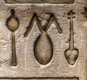 Authentic Egyptian hieroglyphs. Stock Image