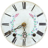 Authentic eighteenth century clock face with flower decoration Royalty Free Stock Photo
