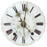 Authentic eighteenth century clock face with flower decoration Royalty Free Stock Image