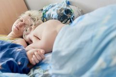 Authentic Family Sleeping Royalty Free Stock Photos