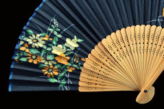 Authentic fan. Japanese fan isolated on black Royalty Free Stock Images