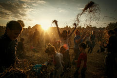 Authentic Festival near Minsk, Belarus 2014, Playing with hay, Royalty Free Stock Image