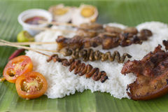 Authentic Filipino Style Boodle Fight Royalty Free Stock Images