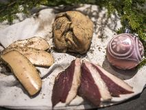 Whole Foie Gras pieces of Duck Breast stock photo