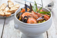 Authentic French Bouillabaisse fish soup Royalty Free Stock Photo