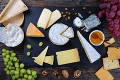 Authentic french Cheese plate, top view Stock Photo
