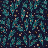 Authentic green leaves pattern on navy background. Vintage, authentic, and ornate pattern for brand who has authentic style. Repeated pattern. Ornament graphic royalty free illustration